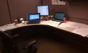 My desk at work, and no it's not enough coffee