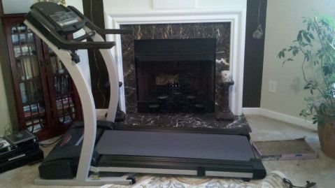 House project #4: The treadmill that needs to be moved back into the garage. Anyone...?